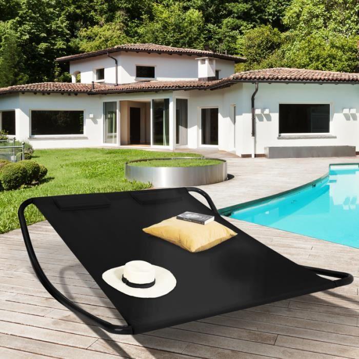 ID MARKET - Lit bain de soleil 180 CM toile noire structure noire