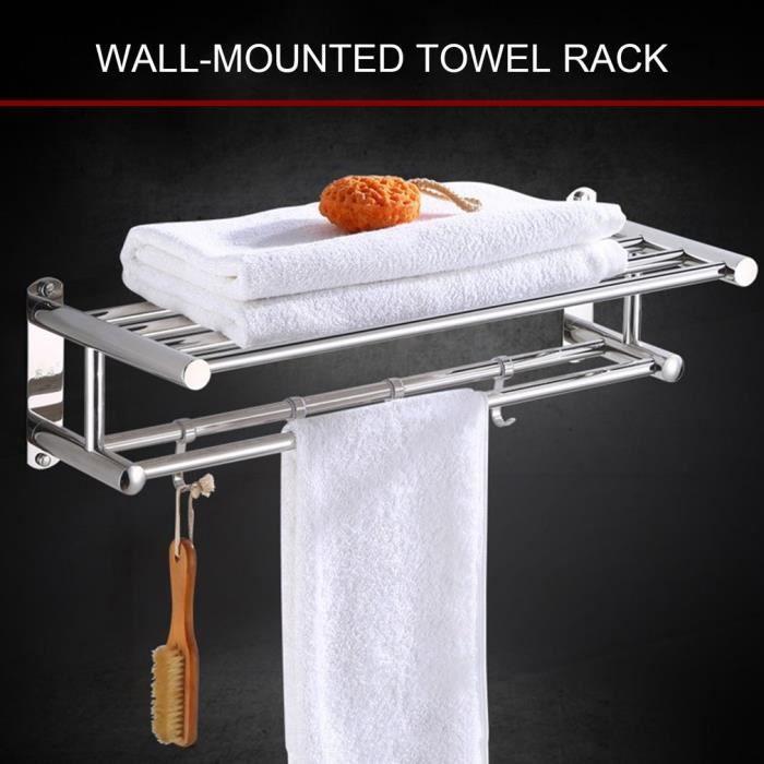 Porte-serviettes de salle de bain, porte-serviettes mural en acier inoxydable, étagère murale 37CM