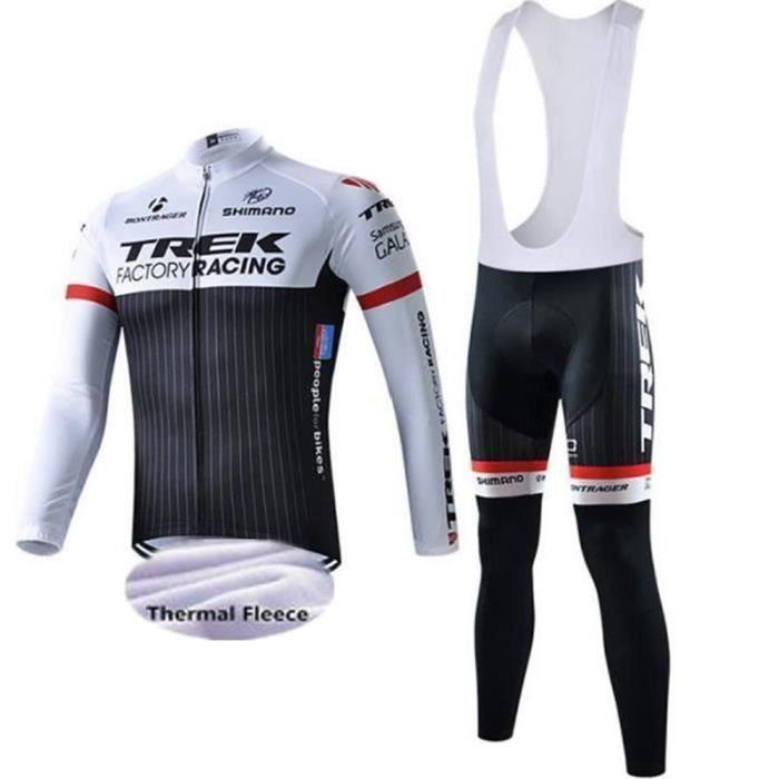 TREK SHIMANO Maillot de Cyclisme Hiver Thermique Fleece longues Manches + Pantalons à Bretelle Homme Vélo Selle de Silicone.XS-3XL