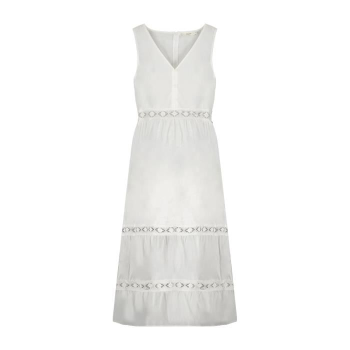 DEELUXE Robe longue détails brodés MAEL Off White