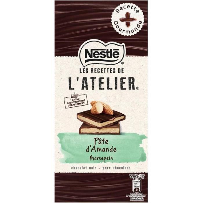 Nestlé Les Recettes de l'Atelier Pâte d'Amande Chocolat Noir 150g (lot de 10)
