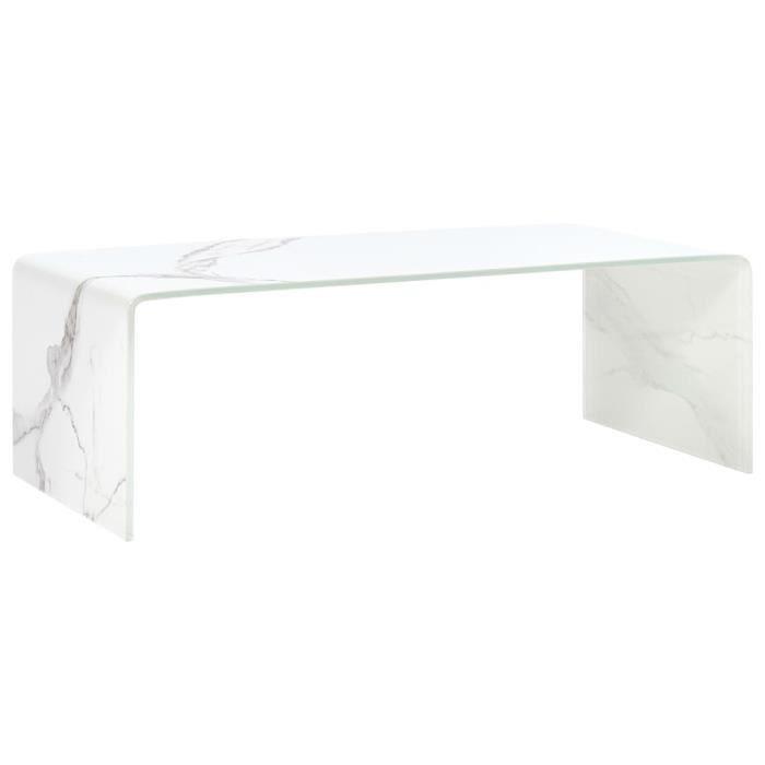 Table basse design scandinave salon contemporain Blanc Marbre 98 x 45 x 31 cm Verre trempé