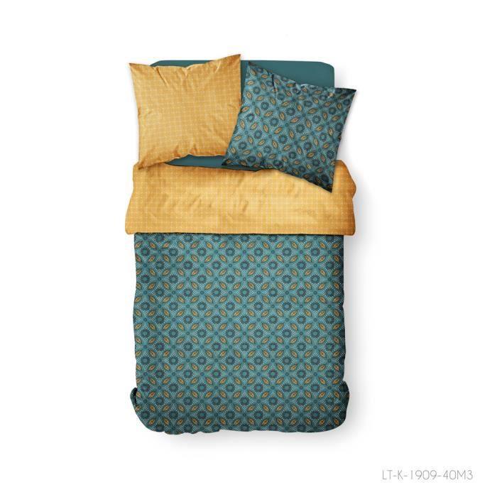 TODAY Parure de couette 100 % Coton 220x240cm SUNSHINE #3.53 - Bleu et orange