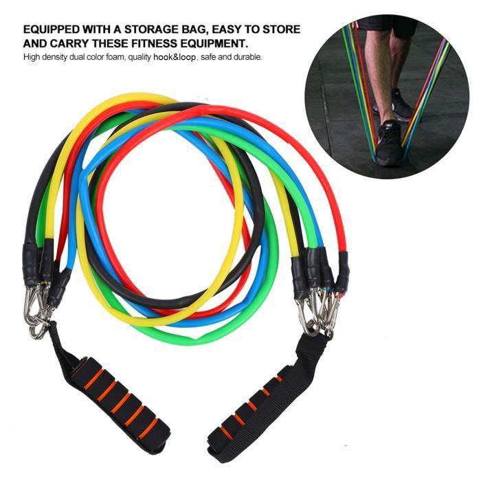 VGEBY® Bandes de Résistance Set Elastiques, Kit de 11 Accessoires Musculation-Bandes de Fitness Exercice Elastiques Yoga -CYA