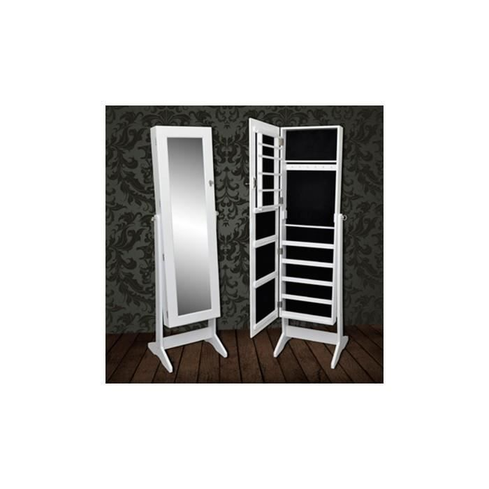 armoire bijoux blanche sur pied avec miroir psych. Black Bedroom Furniture Sets. Home Design Ideas