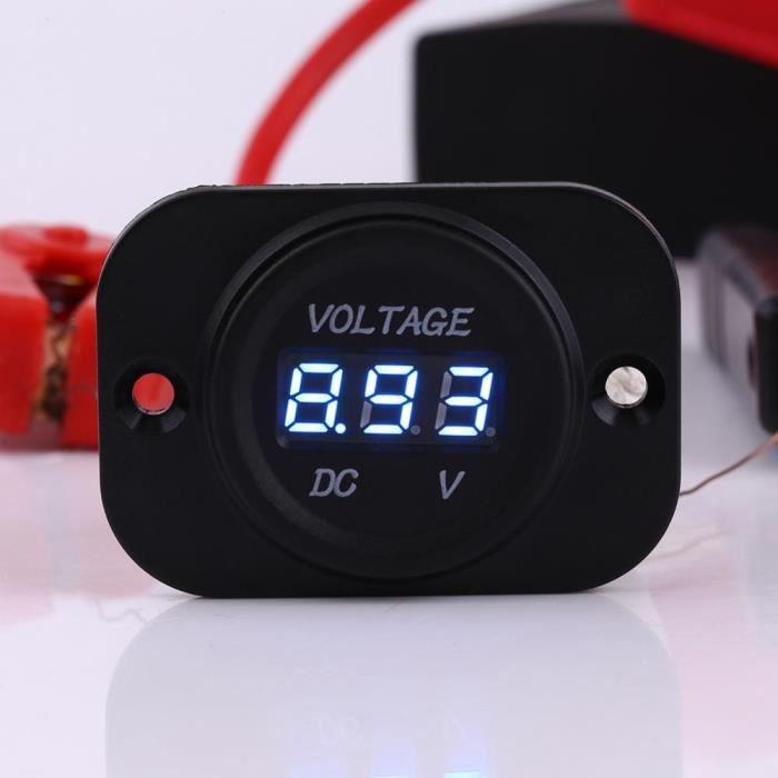 Bleu SODIAL Voltmetre LED Numerique Impermeable a Leau de 12V-24V DC de Voiture Moto