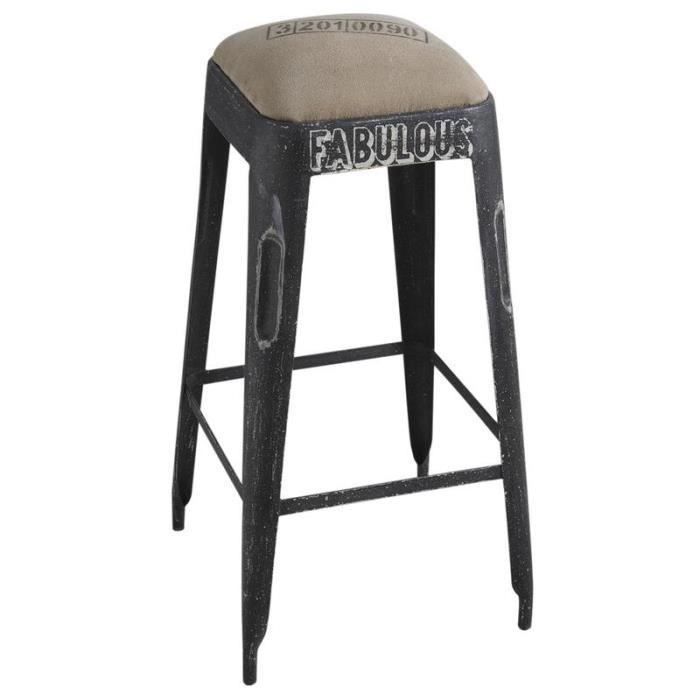tabouret de bar en m tal noir vieilli achat vente tabouret de bar cdiscount. Black Bedroom Furniture Sets. Home Design Ideas