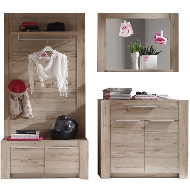 meuble pour hall d 39 entr e complet coloris ch ne san remo achat vente living meuble tv. Black Bedroom Furniture Sets. Home Design Ideas