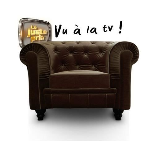 Fauteuil chesterfield velours marron luxe achat vente - Fauteuil chesterfield occasion ...