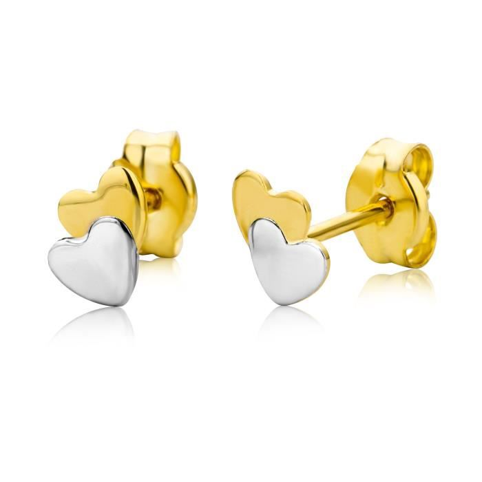 Miore Womens Mk9017e Childrens 9 Ct Two Colour Gold Heart Stud Earrings