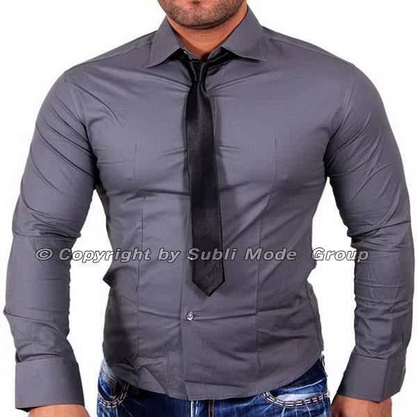chemise cintr e homme slim fit gris gris achat vente. Black Bedroom Furniture Sets. Home Design Ideas