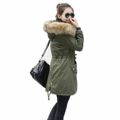 manteau femme parka fille fourrure avec capuche kaki achat vente manteau caban cdiscount. Black Bedroom Furniture Sets. Home Design Ideas