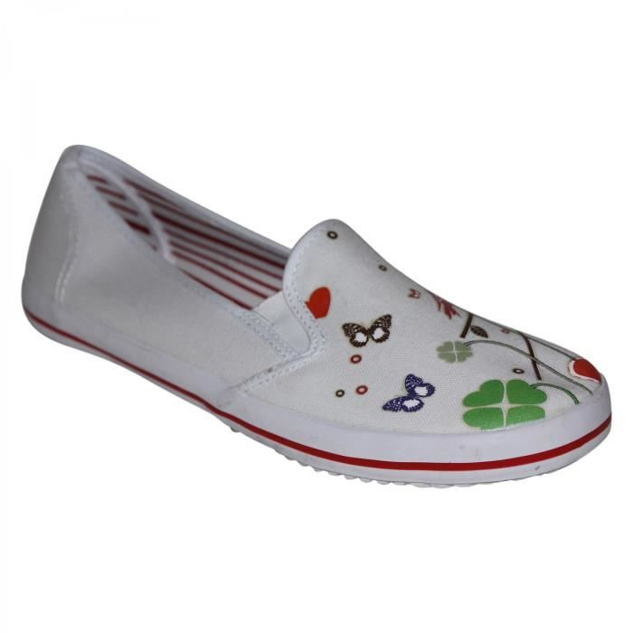 samples shoes DRAVEN THE HEART ROUND SLIP ON WHITE RED WOMEN