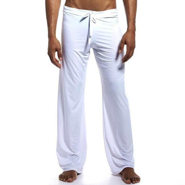 Hommes Sleep Bottoms Pyjama Pantalon contrôles Pantalon Coton Loose Casual homewear Baggy