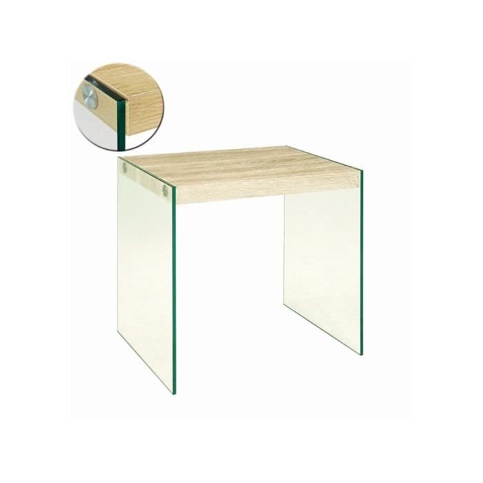 Table d 39 appoint en tube d 39 acier coloris ch ne achat vente tabl - Table and co vente en ligne ...