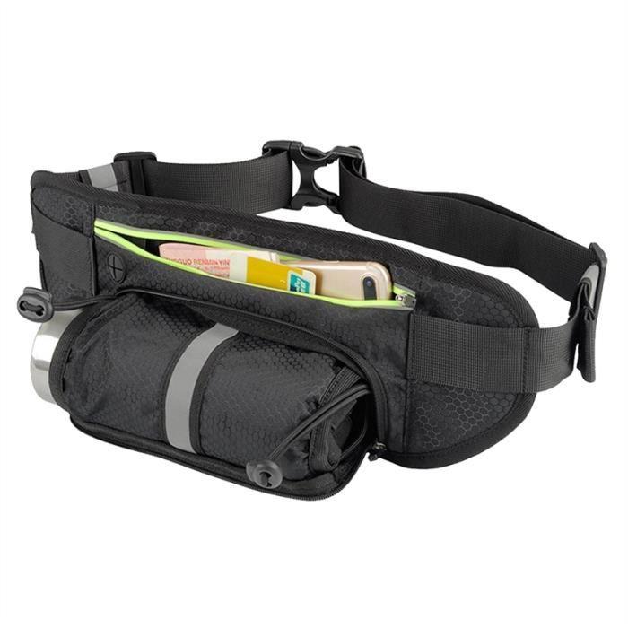 Cuir noir sacoche voyage ceinture Pack de taille argent Utility Sac Banane Sécurité
