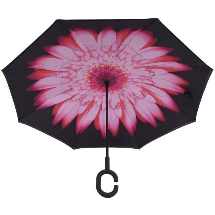 ou maintien de la voiture au sec par temps de pluie protection UV pour femmes au soleil Parapluie invers/é Bleu fonc/é Parapluies invers/és /à double couche avec poign/ée en forme de C