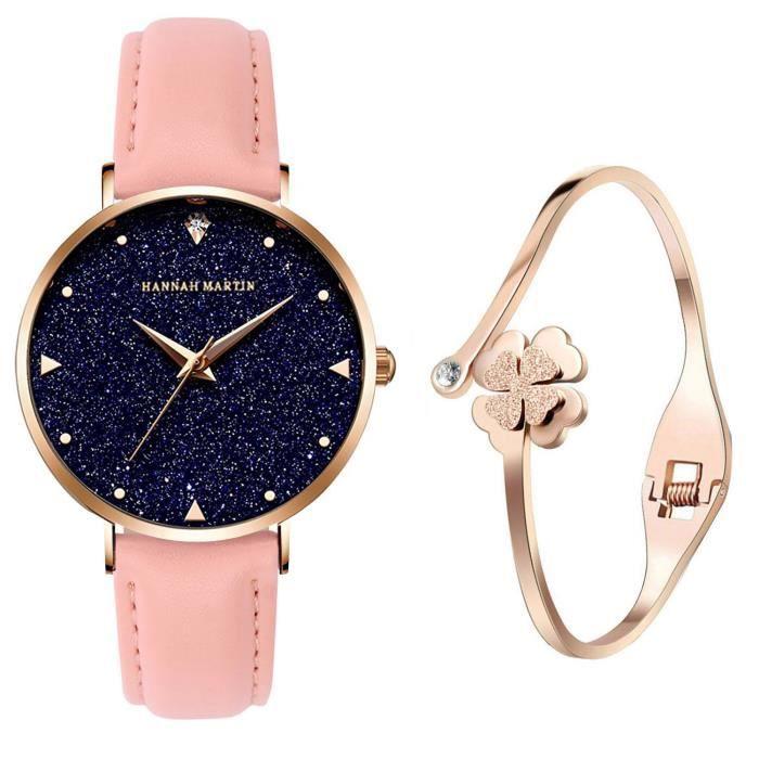 bracelet cuir femme rose