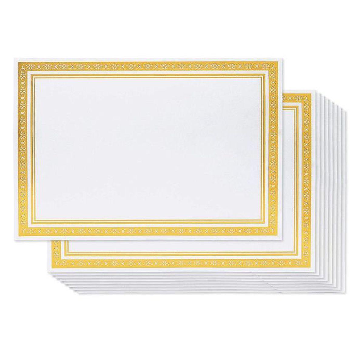Feuille De Papier Certificat 50 Certificats Vierges A4 Bordure Doree 180 G M2 Facile A Imprimer Avec Imprimante Jet D Encre Achat Vente Tableau Paperboard Feuille De Papier Certifica Cdiscount