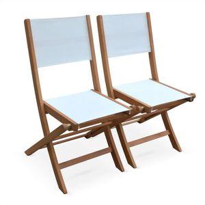 FAUTEUIL JARDIN  Chaises de jardin en bois et textilène - Almeria b