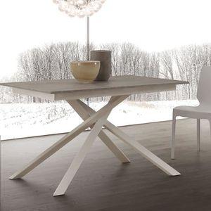 TABLE À MANGER SEULE Table extensible effet béton avec pieds blanc ARIS