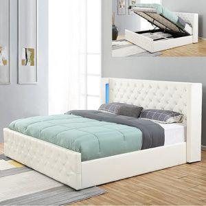 STRUCTURE DE LIT Lit coffre design avec led OSMOS - Blanc - 160x200