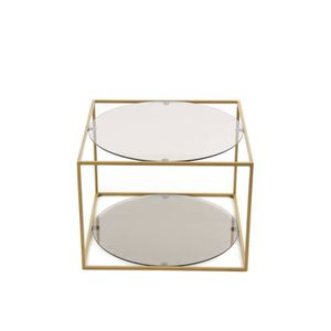 TABLE D'APPOINT CODY - Table d'appoint en métal doré et verre fumé
