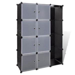 ARMOIRE DE CHAMBRE Cabinet Modulable Noir Blanc avec 9 compartiments
