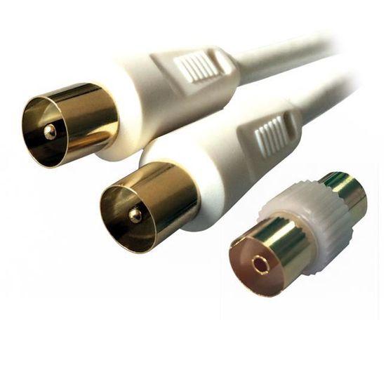 PremiumCord C/âble de Connexion HQ pour antenne TV M//F 75 Ohm avec 4 connecteurs m/étalliques 1,5 m 135 DB