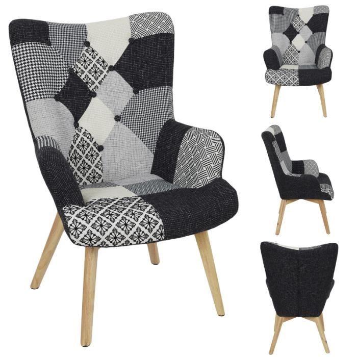 Poufs fauteuils et chaises - Fauteuil patchwork - Helsinki - L 66 x P 72 x H 99,5 - Noir et Blanc