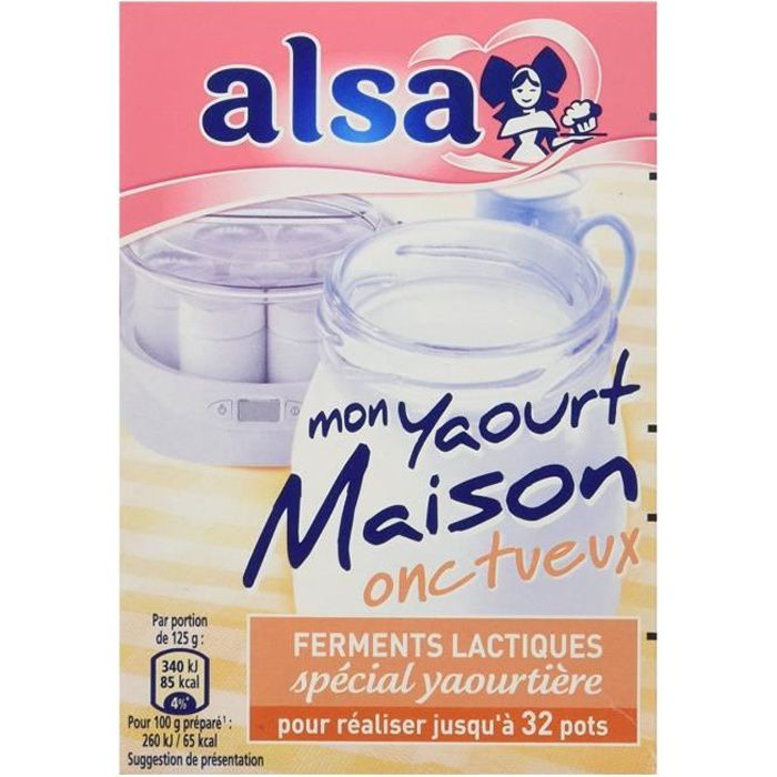 Alsa Preparation pour Yaourts Onctueux Maison 4 Sachets - 8 g Ferments lactiques spécial yaourtière pour réaliser jusqu'à 32 pots