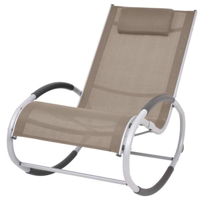 Fauteuil RELAX Chaise à bascule Fauteuil à Bascule d'extérieur Taupe Textilène