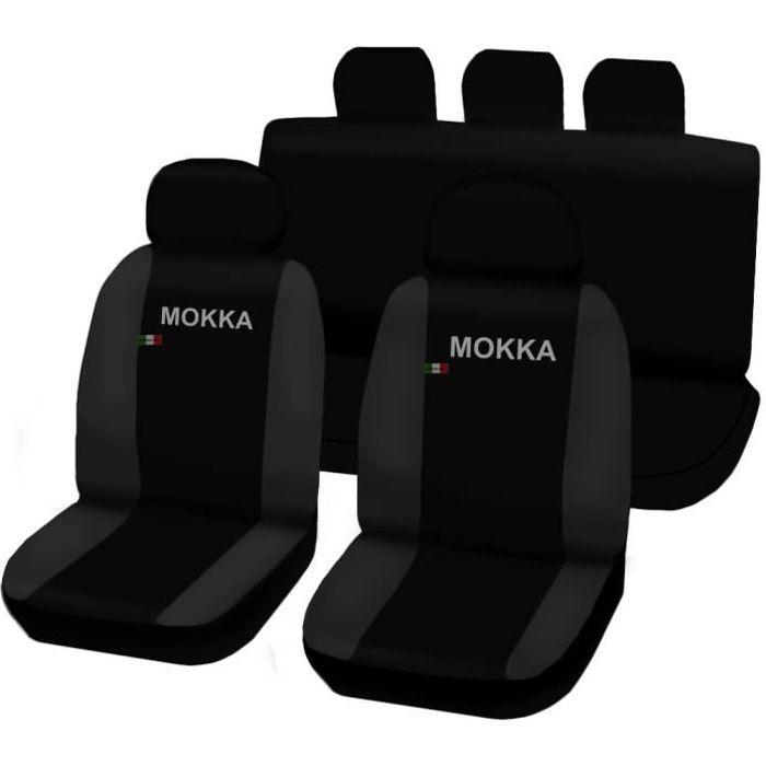 Housses de siège deux-colorés pour Opel Mokka - noir gris foncè