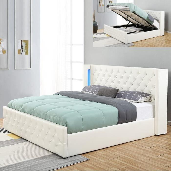 Lit coffre design avec led OSMOS - Blanc - 160x200