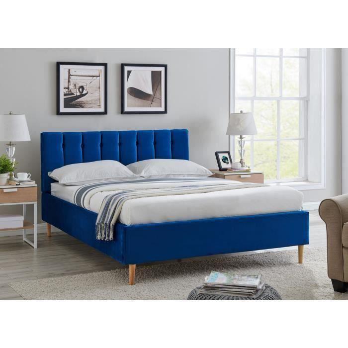 Lit double capitonné en tissu velours bleu VALENTINE 140x190 cm