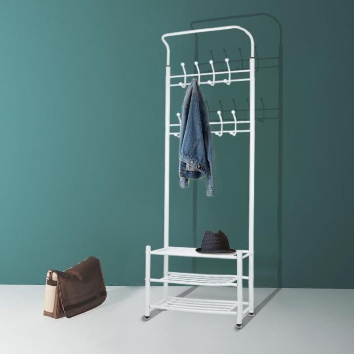 Porte manteau avec étagères - Rangement à chaussures pour l'entrée - Blanc - 185 x 66 x 30 cm