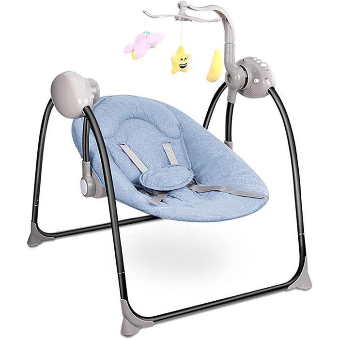 Balancelle Bébé-Transat électrique Bebe siège avec Jouets Suspendus Musique apaisante, avec télécommande Musicale, 2 Modes de Charge