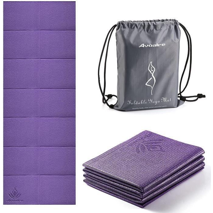 Avoalre Tapis Yoga Antidérapant et Pliable Tapis de Sport INDECHIRABLE Epais 5mm Tapis Yoga de Voyage 173x61CM pour Pilâtes, Gym470