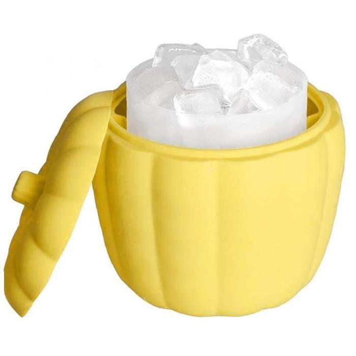 YepYes Seau à glace Ice Cube Maker silicone Ice Maker seau avec couvercle 60 cubes en bouteille de bière Jaune