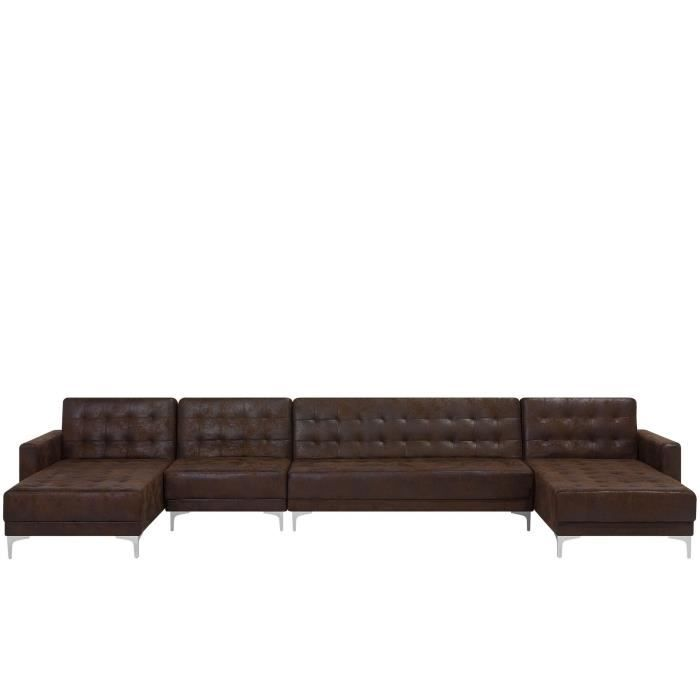 Canapé 6 places modulable en U en simili cuir marron ABERDEEN