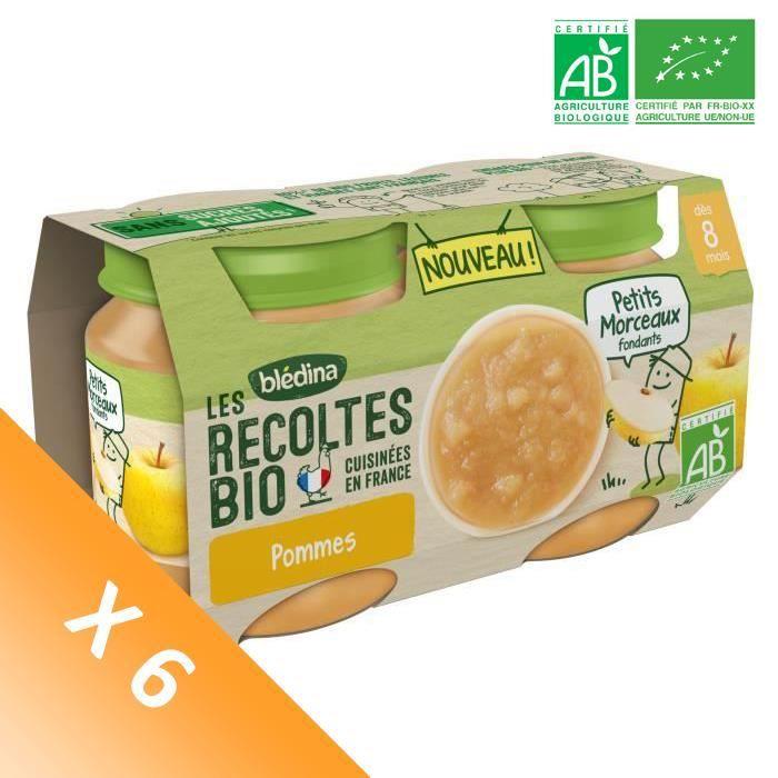 Blédina Les Récoltes Bio, Petits pots pour bébé Bio - Dès 8 mois - Pommes Petits Morceaux - Lot de 6 x 260 g