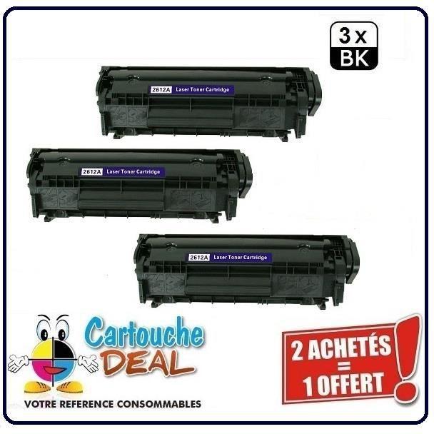 Lot 3 Toners générique compatible HP Q2612A