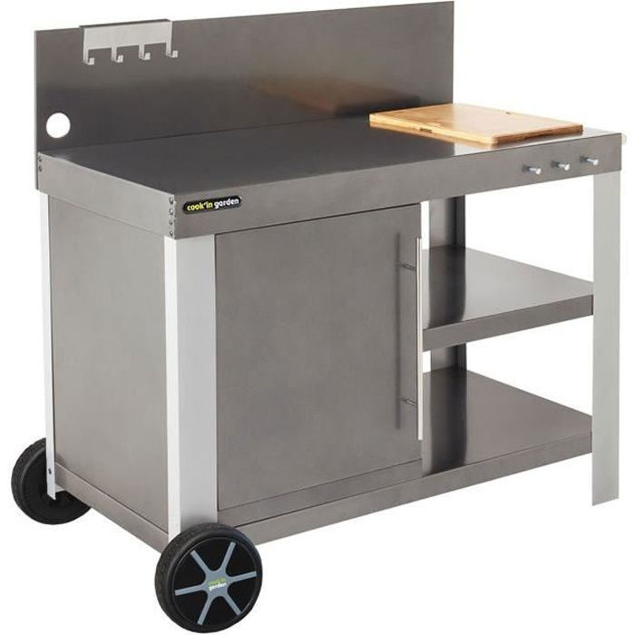 Desserte mobile - Chariot tout métal - Dimensions : 122x65x105 cm - Coloris : grisCHARIOT BARBECUE - CHARIOT PLANCHA - SUPPORT BARBECUE - SUPPORT PLANCHA