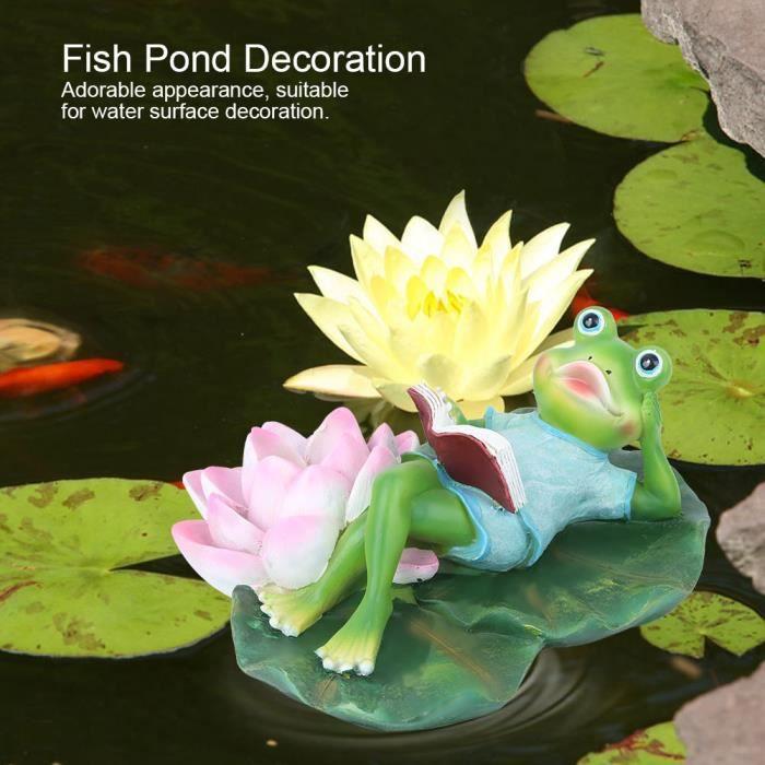 Décoratif de paysage fontaine d'étang poissons grenouille feuille lotus flottant artificiel innovateur