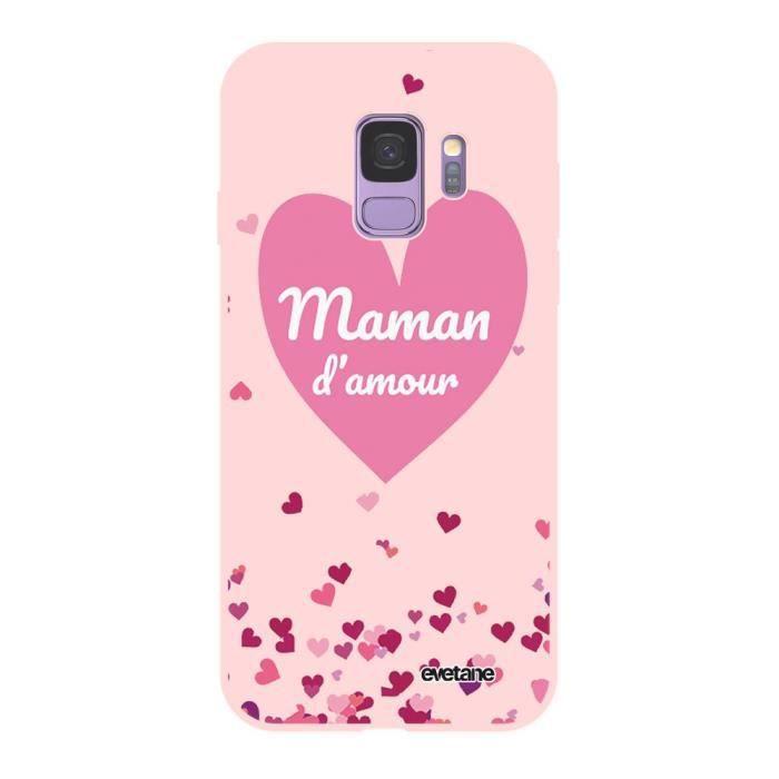 Coque pour Samsung Galaxy S9 Silicone Liquide Douce rose Maman d'amour coeurs Ecriture Tendance et Design Evetane