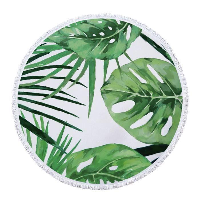 Serviette de Plage Ronde Style Tropical Grande Taille - Tapisserie de Plage Super Doux Microfibre Multi-usages Tapis de Yoga Beach 4