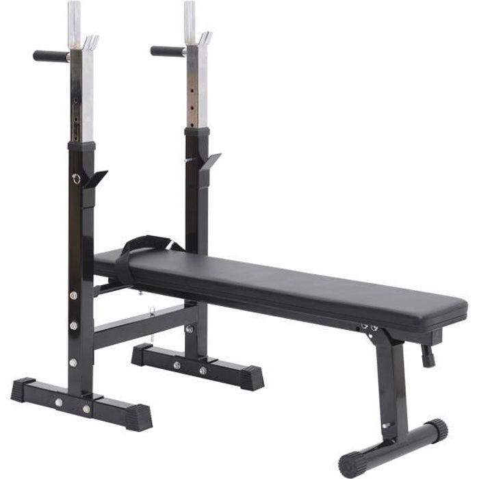 Banc de musculation Fitness pliable entrainement complet dossier réglable poignées de poussée acier renforcé noir 124x56x111cm Noir