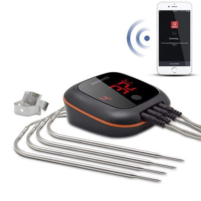 Inkbird IBT-4XS Bluetooth Thermometre Cuisine Sans Fil avec Sonde,Base Magnétique, Rotation de Ecran,Thermometre Exterieur pour F
