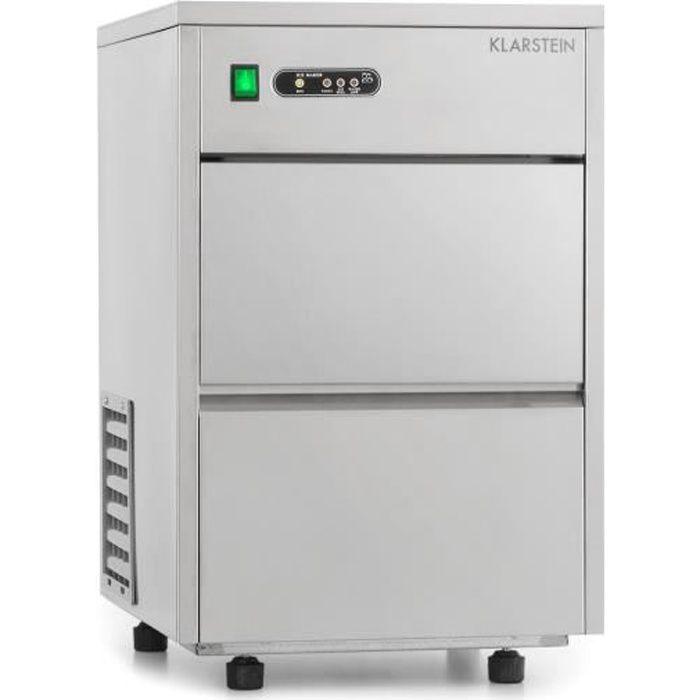 Klarstein Frostica Machine à glaçons & glace pilée professionnelle - capacité énorme : 20 kg-24 h - stockage 3.5 kg - boîtier inox