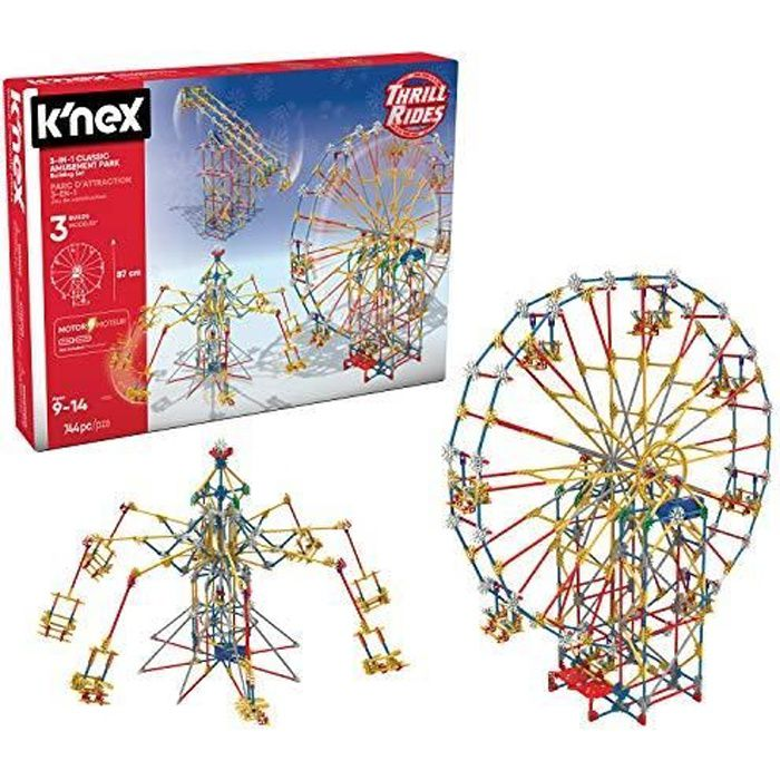 KNEX- Thrill Rides-Jeu Construction-Parc Attraction 3 Manèges Motorisés, 17035, Bleu 17035